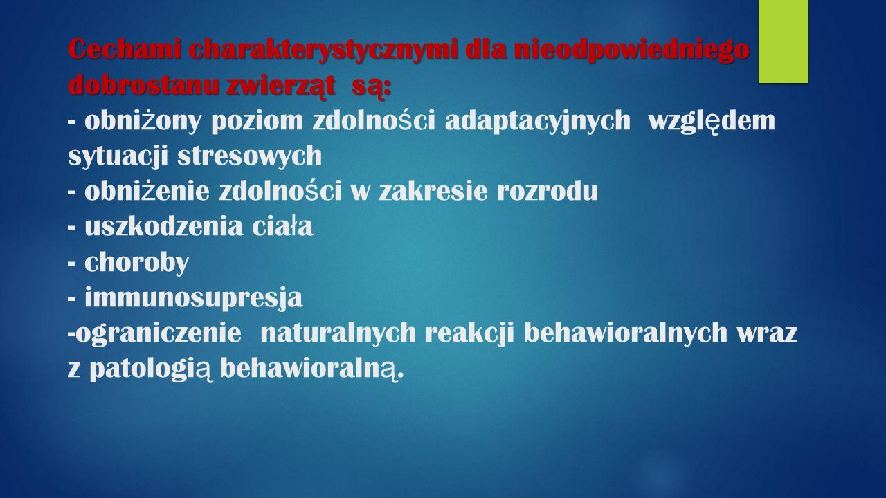 Cechami charakterystycznymi dla nieodpowiedniego dobrostanu zwierz ą t s ą : Cechami charakterystycznymi dla nieodpowiedniego dobrostanu zwierz ą t s ą : - obni ż ony poziom zdolno ś ci adaptacyjnych wzgl ę dem sytuacji stresowych - obni ż enie zdolno ś ci w zakresie rozrodu - uszkodzenia cia ł a - choroby - immunosupresja -ograniczenie naturalnych reakcji behawioralnych wraz z patologi ą behawioraln ą.