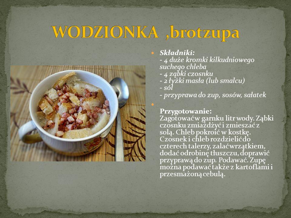 Składniki: - 4 duże kromki kilkudniowego suchego chleba - 4 ząbki czosnku - 2 łyżki masła (lub smalcu) - sól - przyprawa do zup, sosów, sałatek Przygo