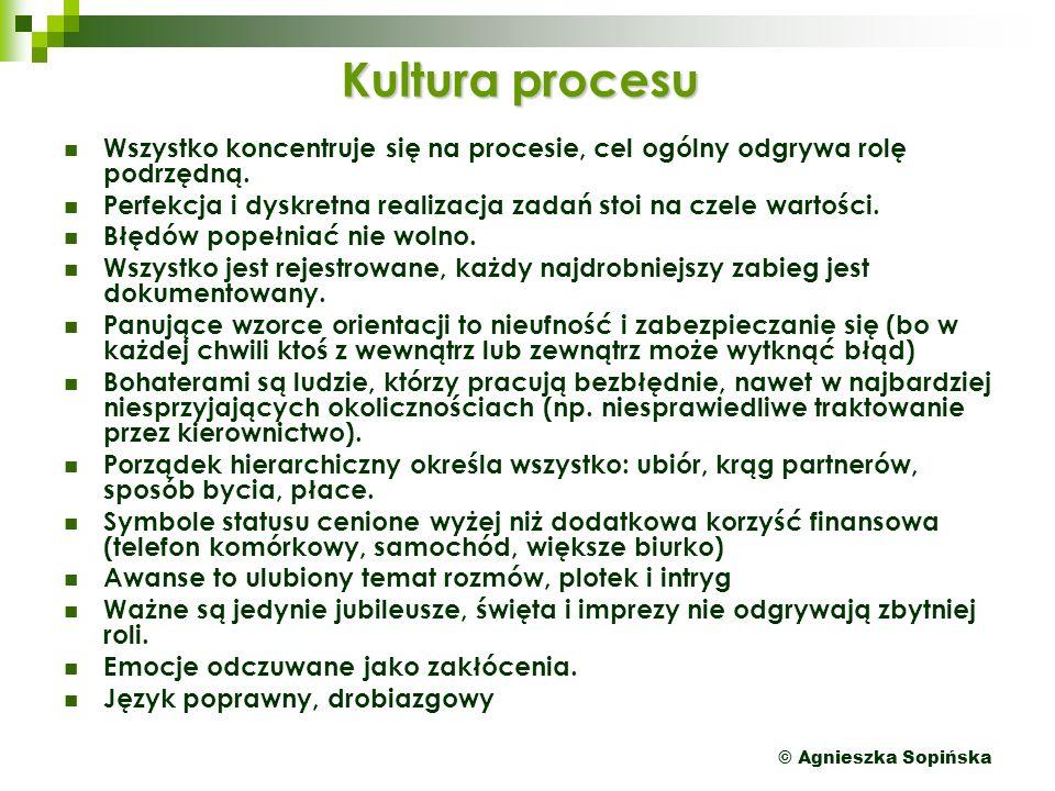 © Agnieszka Sopińska Kultura procesu Wszystko koncentruje się na procesie, cel ogólny odgrywa rolę podrzędną.