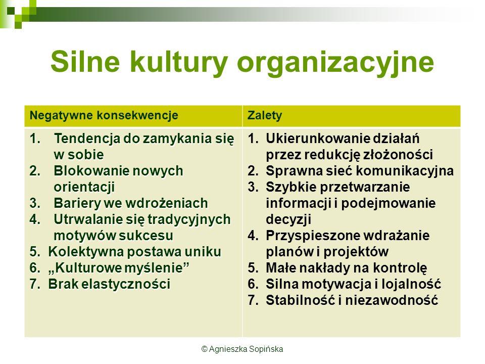 Silne kultury organizacyjne Negatywne konsekwencjeZalety 1.Tendencja do zamykania się w sobie 2.Blokowanie nowych orientacji 3.Bariery we wdrożeniach 4.Utrwalanie się tradycyjnych motywów sukcesu 5.