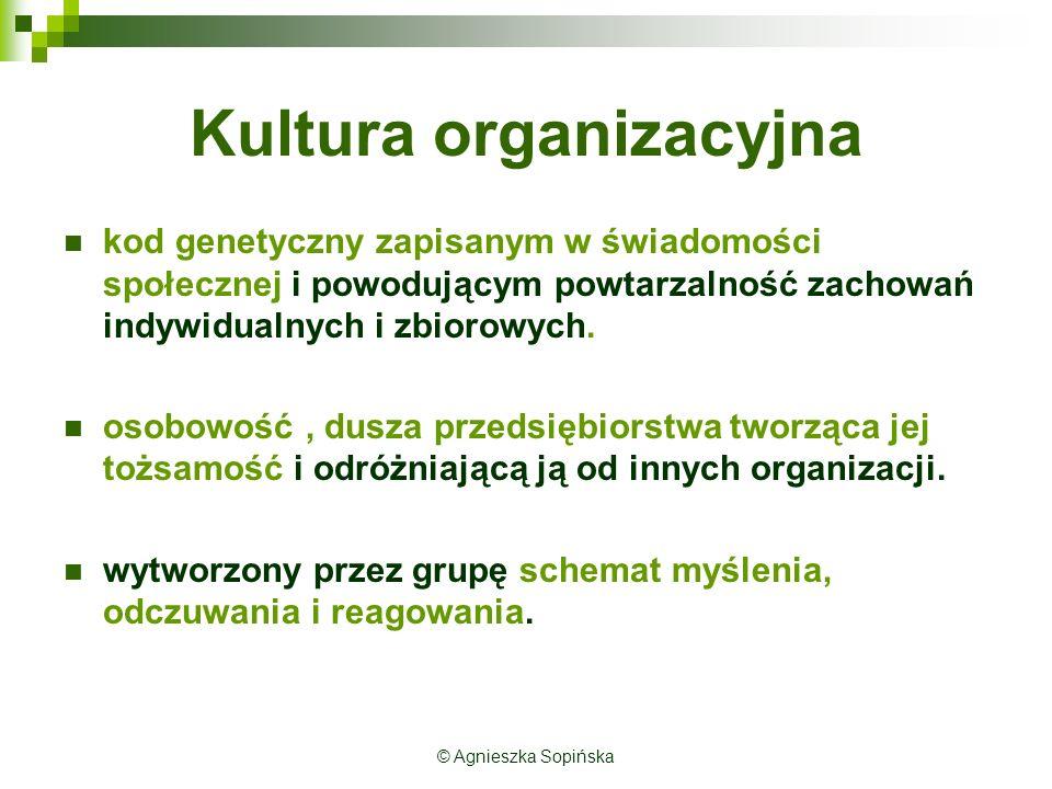 Kultura organizacyjna kod genetyczny zapisanym w świadomości społecznej i powodującym powtarzalność zachowań indywidualnych i zbiorowych.