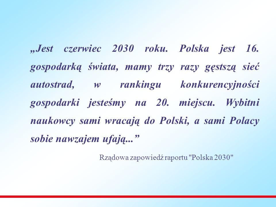 osiągnięcie przez najuboższe polskie regiony 60% przeciętnego PKB na mieszkańca w krajach UE27 (obecnie jest to około 40%), zwiększenie współczynnika urbanizacji do około 75% z obecnych 61%, zwiększenie odsetka mieszkańców kraju zamieszkujących na terenach, z których dotarcie do ośrodków wojewódzkich transportem drogowym i kolejowym zajmuje nie więcej niż 60 minut, do wartości zbliżonej do 100% (obecnie jest to odpowiednio 60 i 70%), upowszechnienie opieki przedszkolnej na obszarach wiejskich i objęcie nią w skali kraju 100% dzieci w wieku od 3 do 5 lat (obecnie 20% na wsi i 60% w miastach), spadek udziału zatrudnionych w rolnictwie do poziomu około 5% (z obecnego ok.