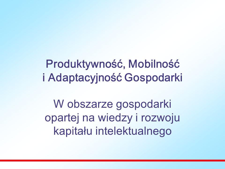 Produktywność, Mobilność i Adaptacyjność Gospodarki W obszarze gospodarki opartej na wiedzy i rozwoju kapitału intelektualnego