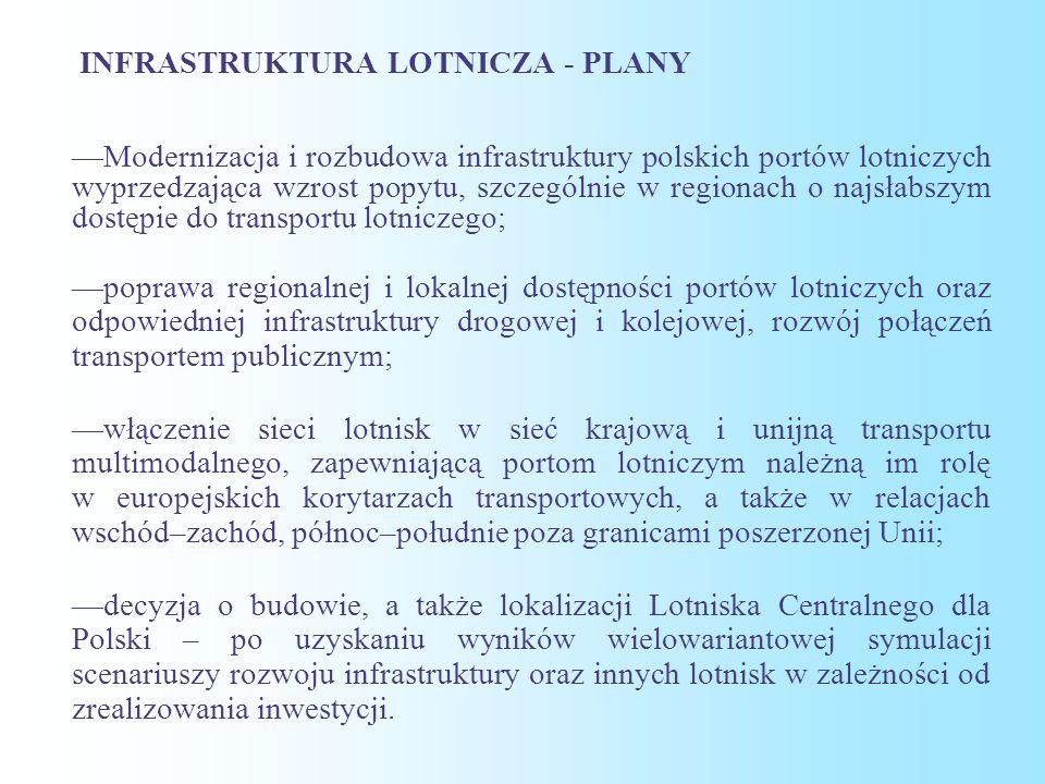 INFRASTRUKTURA LOTNICZA - PLANY —Modernizacja i rozbudowa infrastruktury polskich portów lotniczych wyprzedzająca wzrost popytu, szczególnie w regionach o najsłabszym dostępie do transportu lotniczego; —poprawa regionalnej i lokalnej dostępności portów lotniczych oraz odpowiedniej infrastruktury drogowej i kolejowej, rozwój połączeń transportem publicznym; —włączenie sieci lotnisk w sieć krajową i unijną transportu multimodalnego, zapewniającą portom lotniczym należną im rolę w europejskich korytarzach transportowych, a także w relacjach wschód–zachód, północ–południe poza granicami poszerzonej Unii; —decyzja o budowie, a także lokalizacji Lotniska Centralnego dla Polski – po uzyskaniu wyników wielowariantowej symulacji scenariuszy rozwoju infrastruktury oraz innych lotnisk w zależności od zrealizowania inwestycji.