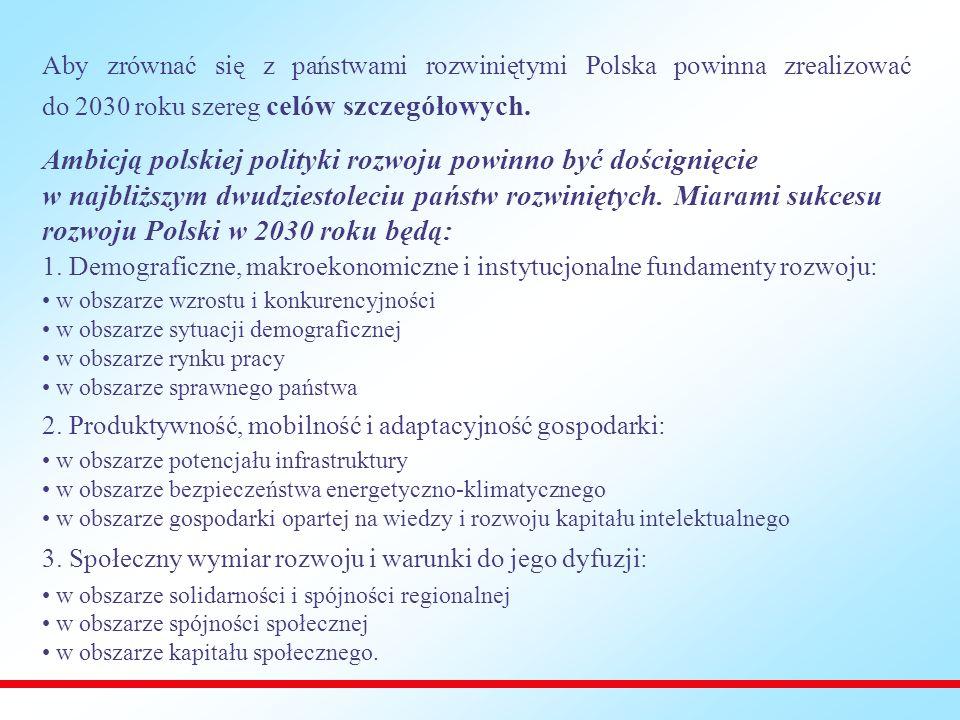 Aby zrównać się z państwami rozwiniętymi Polska powinna zrealizować do 2030 roku szereg celów szczegółowych.