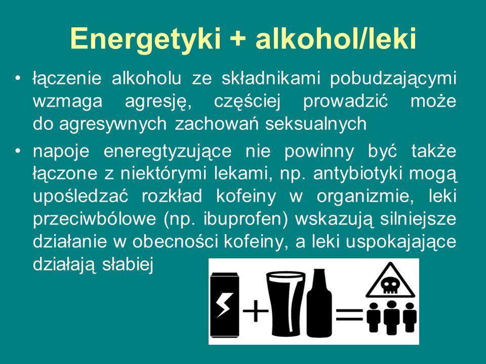Energetyki + alkohol/leki łączenie alkoholu ze składnikami pobudzającymi wzmaga agresję, częściej prowadzić może do agresywnych zachowań seksualnych napoje eneregtyzujące nie powinny być także łączone z niektórymi lekami, np.