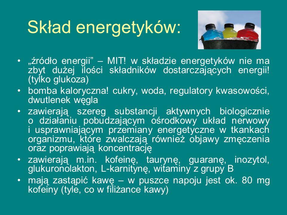 Niektóre składniki energetyków: KOFEINA intensywne lub zbyt częste pobudzanie organizmu kofeiną prowadzi m.in.