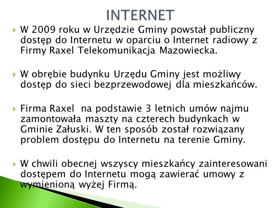  W 2009 roku w Urzędzie Gminy powstał publiczny dostęp do Internetu w oparciu o Internet radiowy z Firmy Raxel Telekomunikacja Mazowiecka.