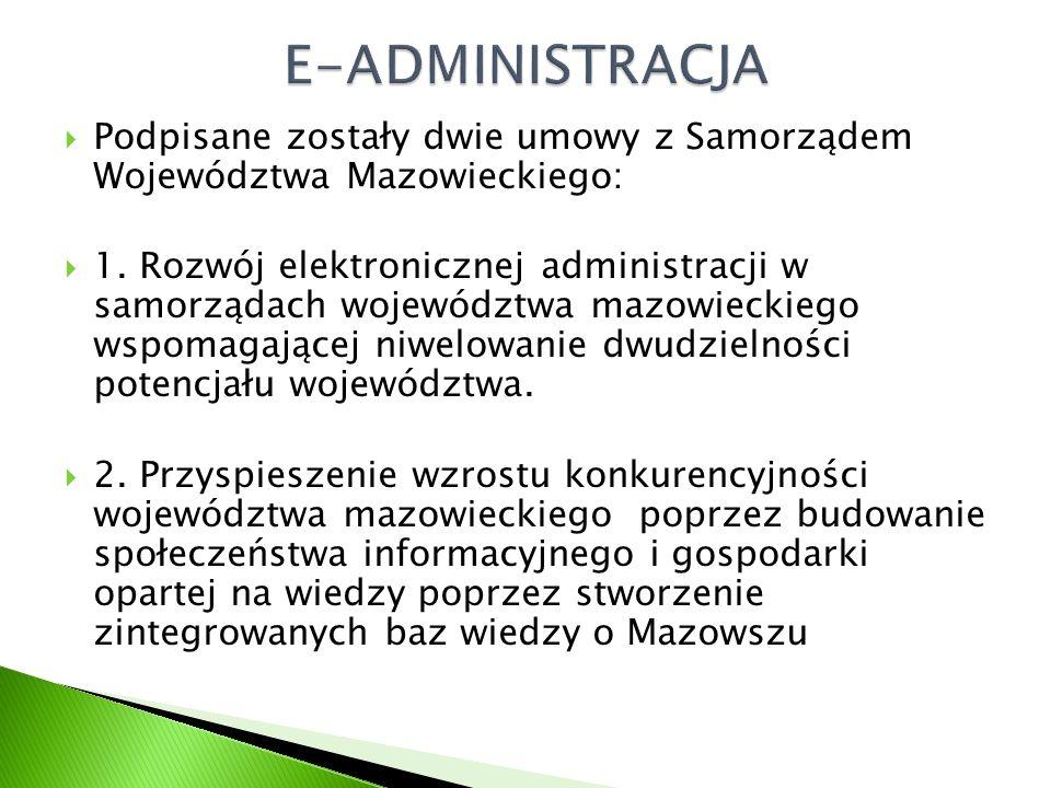  Podpisane zostały dwie umowy z Samorządem Województwa Mazowieckiego:  1.