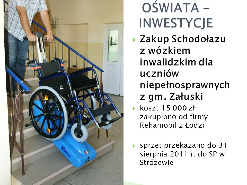  Zakup Schodołazu z wózkiem inwalidzkim dla uczniów niepełnosprawnych z gm.