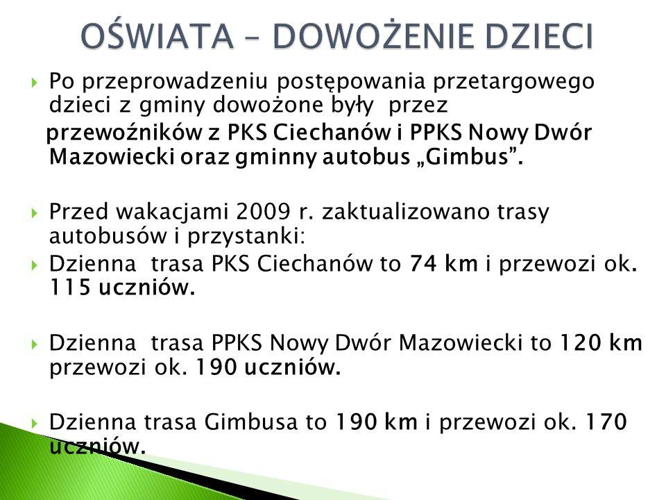 """ Po przeprowadzeniu postępowania przetargowego dzieci z gminy dowożone były przez przewoźników z PKS Ciechanów i PPKS Nowy Dwór Mazowiecki oraz gminny autobus """"Gimbus ."""