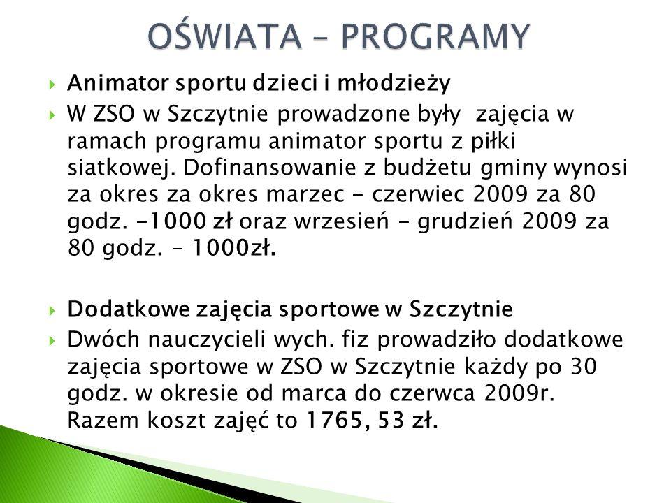  Animator sportu dzieci i młodzieży  W ZSO w Szczytnie prowadzone były zajęcia w ramach programu animator sportu z piłki siatkowej.