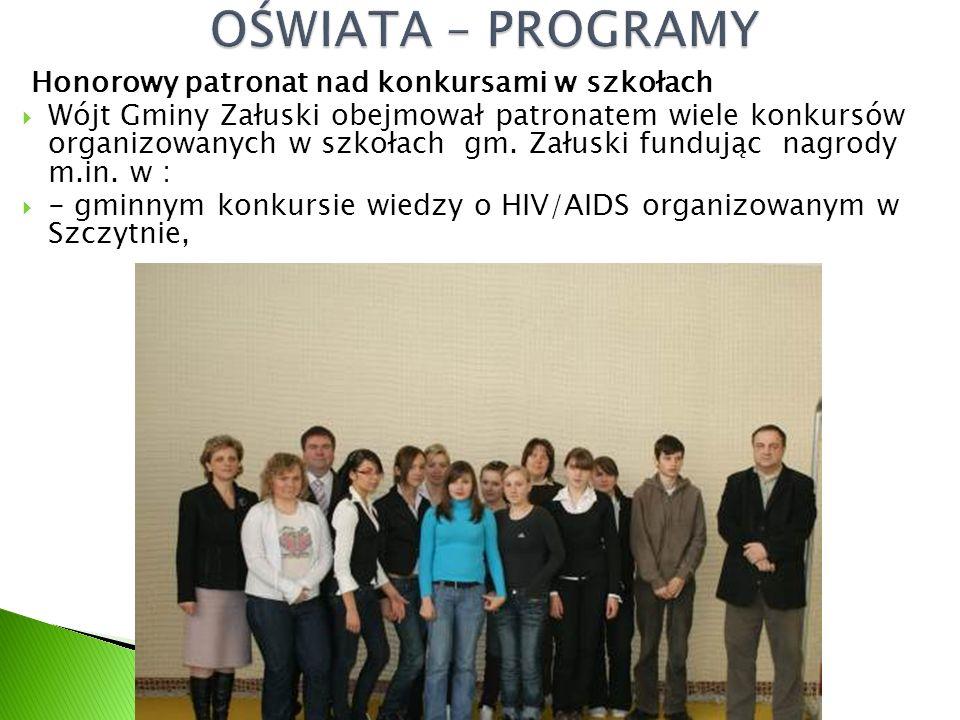 Honorowy patronat nad konkursami w szkołach  Wójt Gminy Załuski obejmował patronatem wiele konkursów organizowanych w szkołach gm.