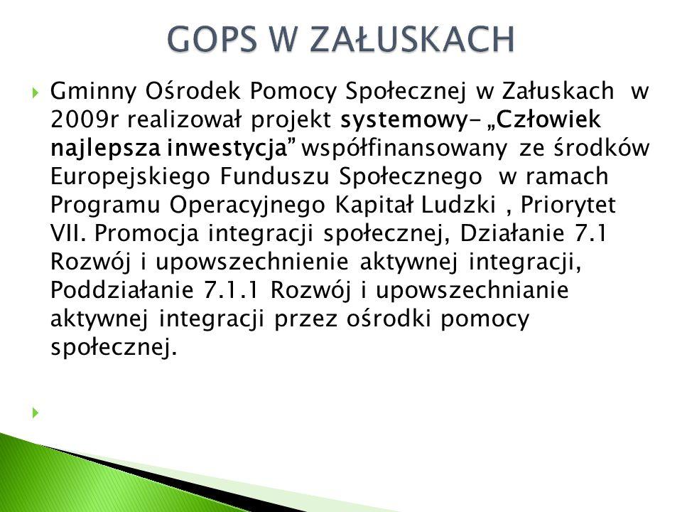 """ Gminny Ośrodek Pomocy Społecznej w Załuskach w 2009r realizował projekt systemowy- """"Człowiek najlepsza inwestycja współfinansowany ze środków Europejskiego Funduszu Społecznego w ramach Programu Operacyjnego Kapitał Ludzki, Priorytet VII."""