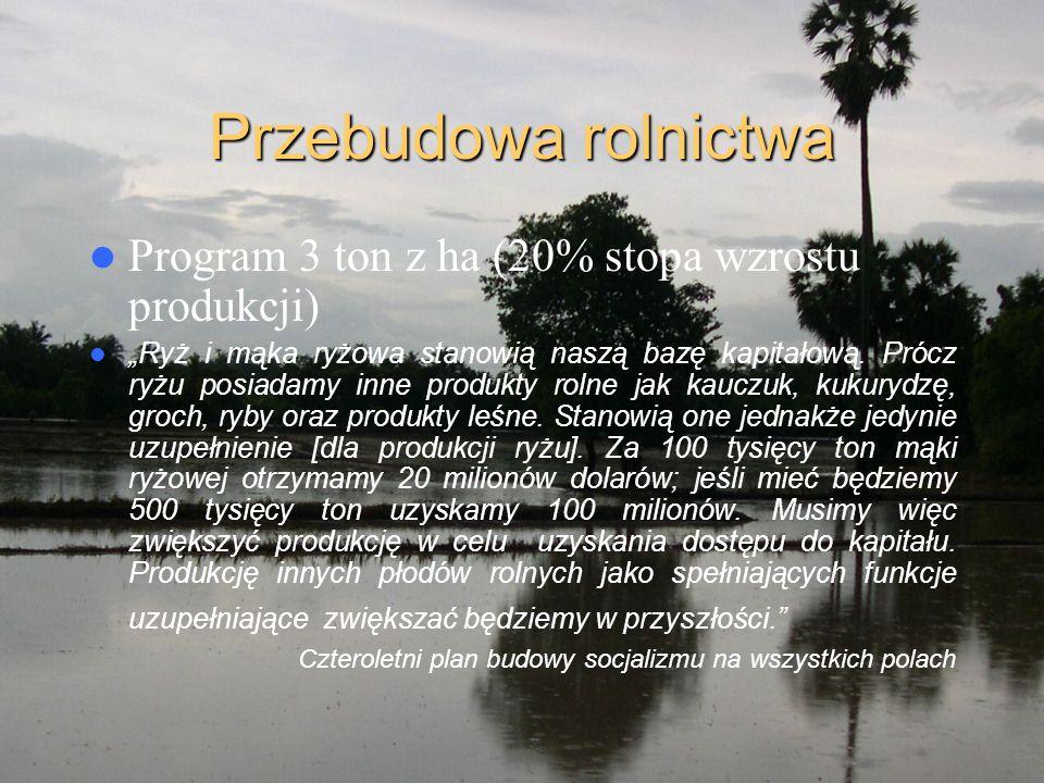 """Przebudowa rolnictwa Program 3 ton z ha (20% stopa wzrostu produkcji) """"Ryż i mąka ryżowa stanowią naszą bazę kapitałową. Prócz ryżu posiadamy inne pro"""