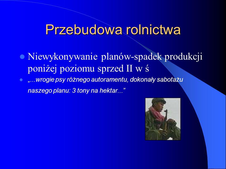 """Przebudowa rolnictwa Niewykonywanie planów-spadek produkcji poniżej poziomu sprzed II w ś """"...wrogie psy różnego autoramentu, dokonały sabotażu naszeg"""