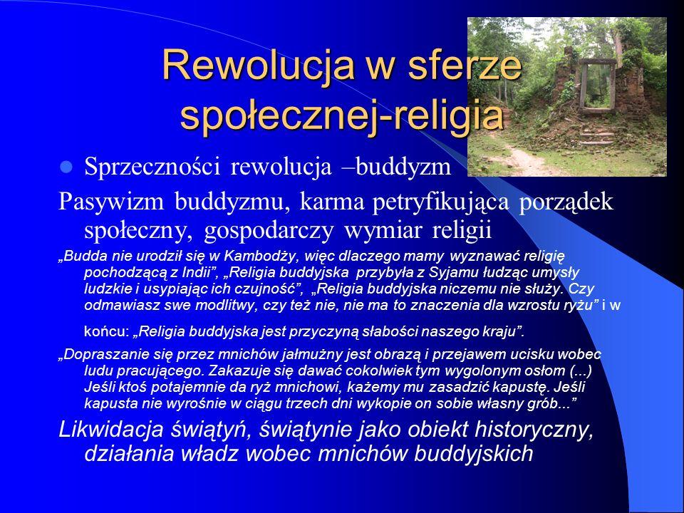 Rewolucja w sferze społecznej-religia Sprzeczności rewolucja –buddyzm Pasywizm buddyzmu, karma petryfikująca porządek społeczny, gospodarczy wymiar re