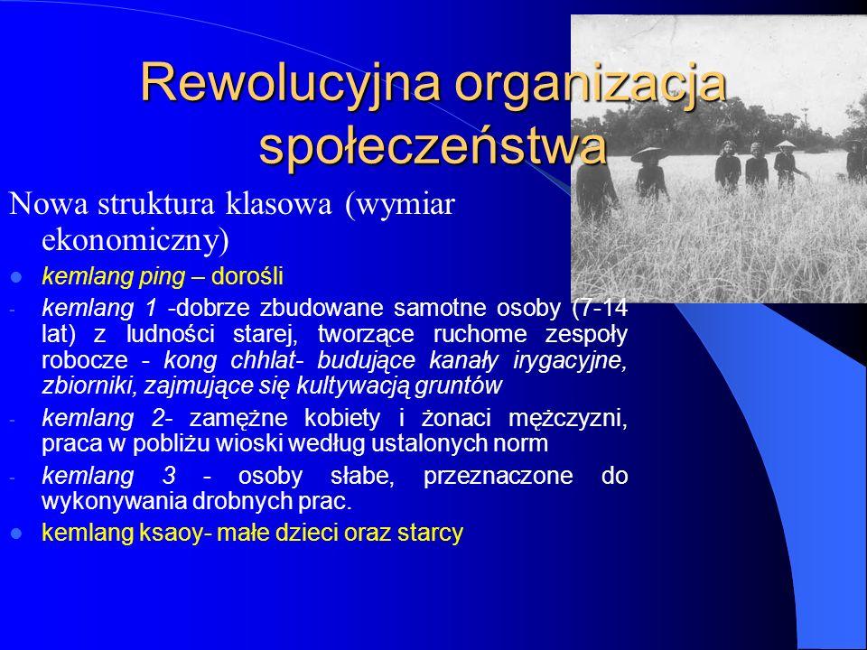 Rewolucyjna organizacja społeczeństwa Nowa struktura klasowa (wymiar ekonomiczny) kemlang ping – dorośli - kemlang 1 -dobrze zbudowane samotne osoby (