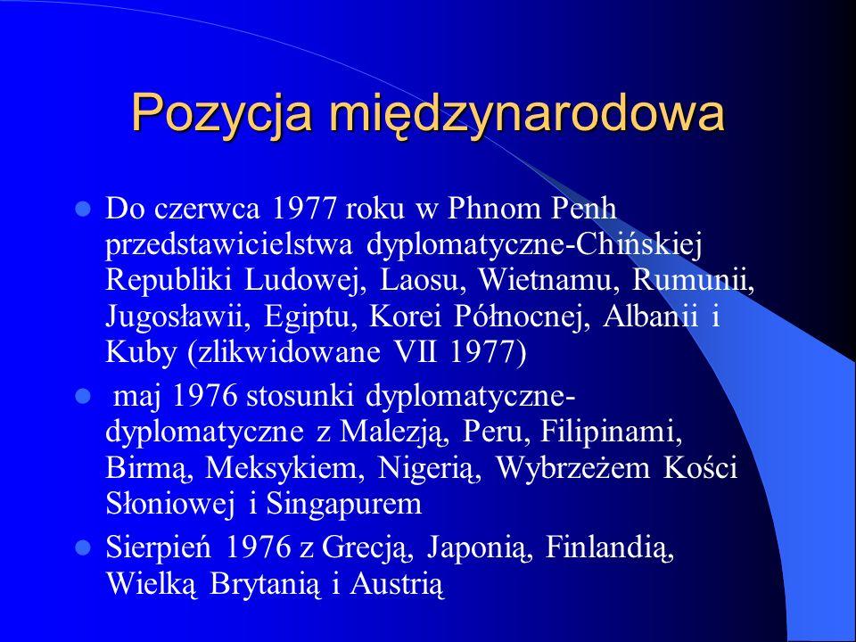 Pozycja międzynarodowa Do czerwca 1977 roku w Phnom Penh przedstawicielstwa dyplomatyczne-Chińskiej Republiki Ludowej, Laosu, Wietnamu, Rumunii, Jugos