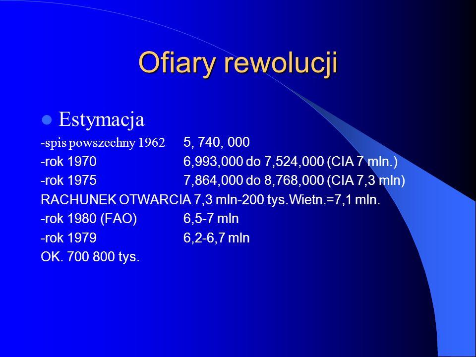 Ofiary rewolucji Estymacja -spis powszechny 1962 5, 740, 000 -rok 1970 6,993,000 do 7,524,000 (CIA 7 mln.) -rok 1975 7,864,000 do 8,768,000 (CIA 7,3 m