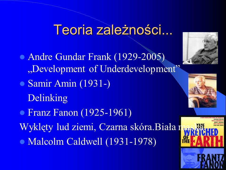 """Teoria zależności... Andre Gundar Frank (1929-2005) """"Development of Underdevelopment"""" Samir Amin (1931-) Delinking Franz Fanon (1925-1961) Wyklęty lud"""