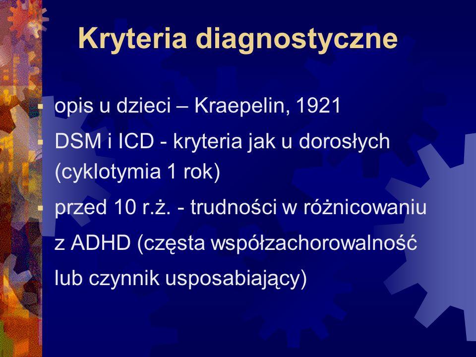 Kryteria diagnostyczne  opis u dzieci – Kraepelin, 1921  DSM i ICD - kryteria jak u dorosłych (cyklotymia 1 rok)  przed 10 r.ż.