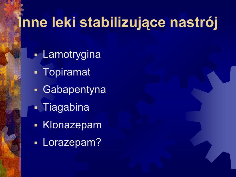 Inne leki stabilizujące nastrój  Lamotrygina  Topiramat  Gabapentyna  Tiagabina  Klonazepam  Lorazepam?