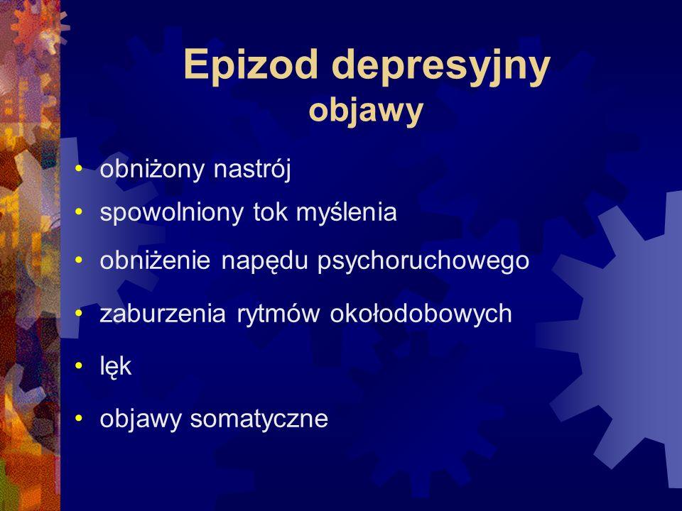 Epizod depresyjny objawy obniżony nastrój spowolniony tok myślenia obniżenie napędu psychoruchowego zaburzenia rytmów okołodobowych lęk objawy somatyczne