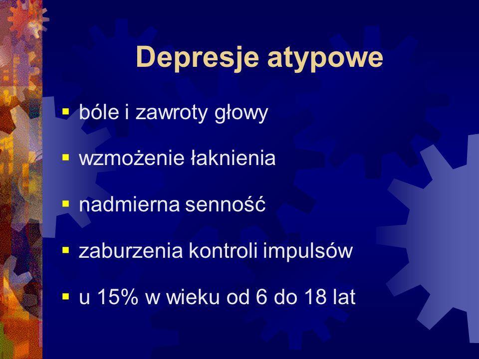 Depresje atypowe  bóle i zawroty głowy  wzmożenie łaknienia  nadmierna senność  zaburzenia kontroli impulsów  u 15% w wieku od 6 do 18 lat