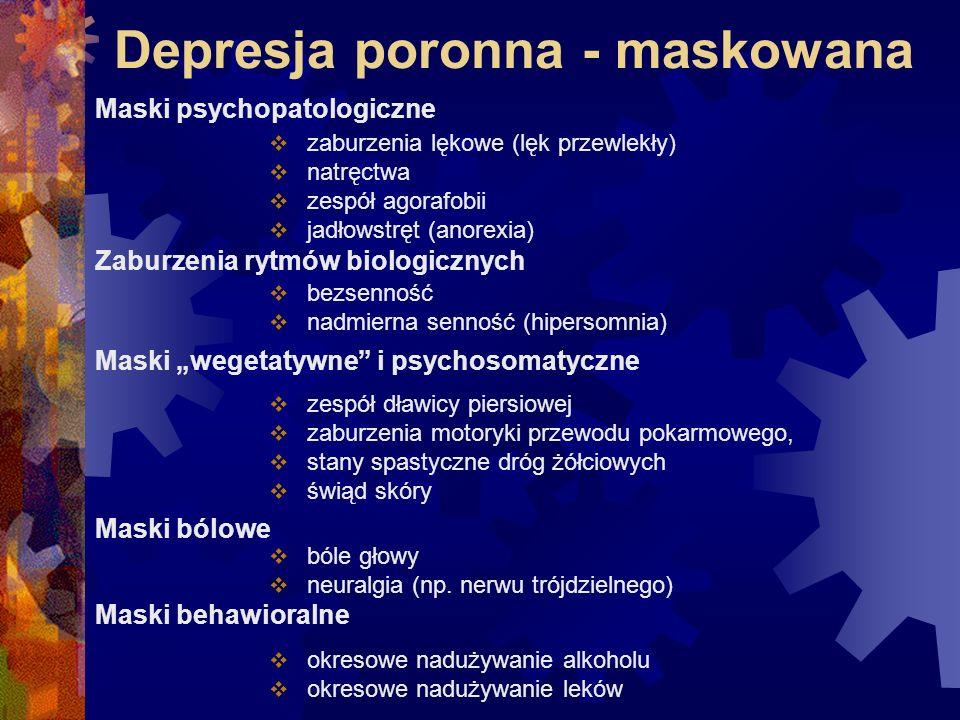 Kliniczne objawy depresji dzieci i młodzieżyDziedzina Objawy kliniczne Nastrój depresyjny nastrój depresyjny nastrój niezdolność do odczuwania przyjemności niezdolność do odczuwania przyjemności irytacja irytacja lęk i obawa lęk i obawa Zachowanie pobudzenie lub opóźnienie reakcji pobudzenie lub opóźnienie reakcji psychomotorycznych psychomotorycznych odstąpienie depresyjne* odstąpienie depresyjne* Związki rozpad więzi rodzinnych rozpad więzi rodzinnych wycofywanie się ze związków rówieśniczych wycofywanie się ze związków rówieśniczych
