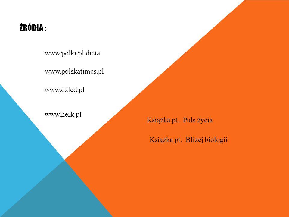ŻRÓDŁA : www.polki.pl.dieta www.polskatimes.pl www.ozled.pl www.herk.pl Książka pt.