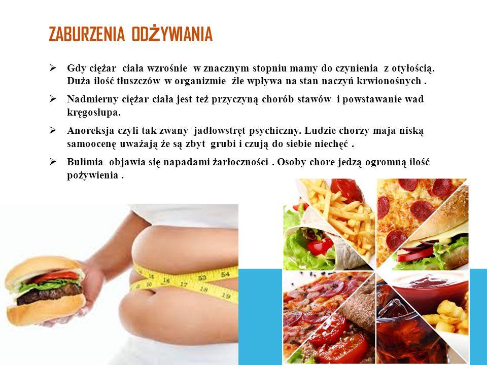 ZABURZENIA OD Ż YWIANIA  Gdy ciężar ciała wzrośnie w znacznym stopniu mamy do czynienia z otyłością.