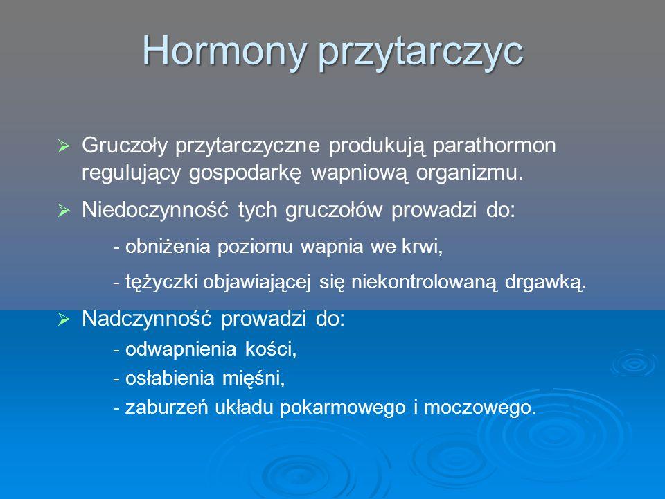 Hormony przytarczyc   Gruczoły przytarczyczne produkują parathormon regulujący gospodarkę wapniową organizmu.   Niedoczynność tych gruczołów prowa