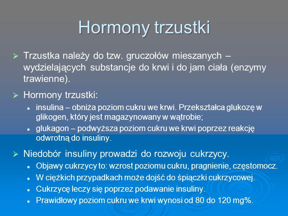 Hormony trzustki   Trzustka należy do tzw. gruczołów mieszanych – wydzielających substancje do krwi i do jam ciała (enzymy trawienne).   Hormony t