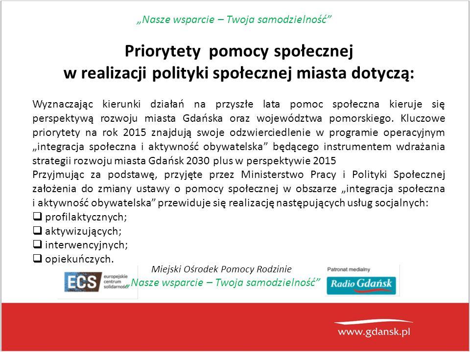 Priorytety pomocy społecznej w realizacji polityki społecznej miasta dotyczą: Wyznaczając kierunki działań na przyszłe lata pomoc społeczna kieruje się perspektywą rozwoju miasta Gdańska oraz województwa pomorskiego.