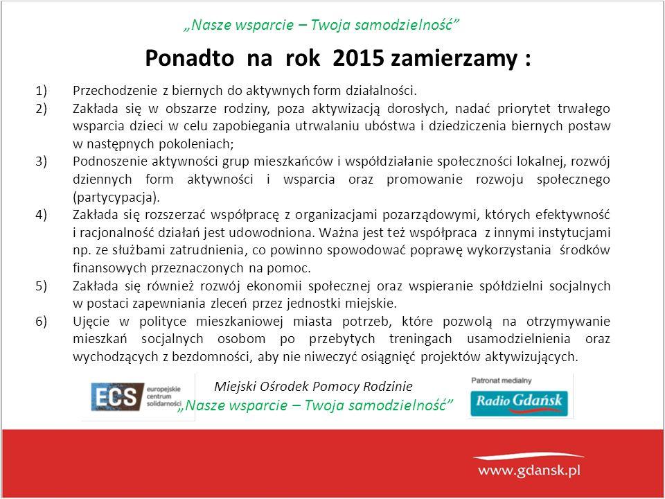 Ponadto na rok 2015 zamierzamy : 1)Przechodzenie z biernych do aktywnych form działalności.