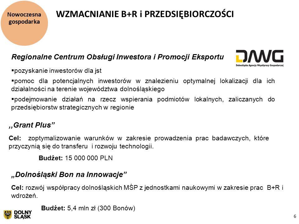 """6 Nowoczesna gospodarka WZMACNIANIE B+R i PRZEDSIĘBIORCZOŚCI Regionalne Centrum Obsługi Inwestora i Promocji Eksportu  pozyskanie inwestorów dla jst  pomoc dla potencjalnych inwestorów w znalezieniu optymalnej lokalizacji dla ich działalności na terenie województwa dolnośląskiego  podejmowanie działań na rzecz wspierania podmiotów lokalnych, zaliczanych do przedsiębiorstw strategicznych w regionie """"Dolnośląski Bon na Innowacje Cel: rozwój współpracy dolnośląskich MŚP z jednostkami naukowymi w zakresie prac B+R i wdrożeń."""