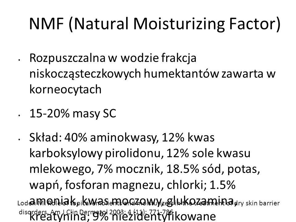 NMF (Natural Moisturizing Factor) Rozpuszczalna w wodzie frakcja niskocząsteczkowych humektantów zawarta w korneocytach 15-20% masy SC Skład: 40% aminokwasy, 12% kwas karboksylowy pirolidonu, 12% sole kwasu mlekowego, 7% mocznik, 18.5% sód, potas, wapń, fosforan magnezu, chlorki; 1.5% amoniak, kwas moczowy, glukozamina, kreatynina; 9% niezidentyfikowane Wiązanie wody, zwiększanie elastyczności SC Loden M.