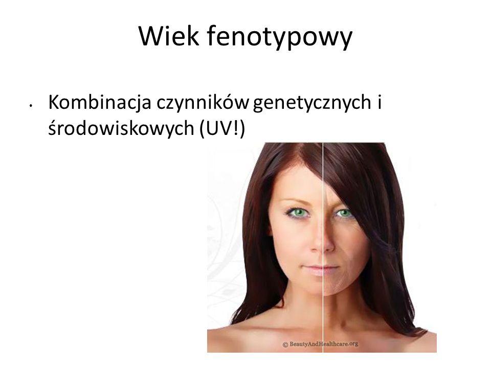 Wiek fenotypowy Kombinacja czynników genetycznych i środowiskowych (UV!)