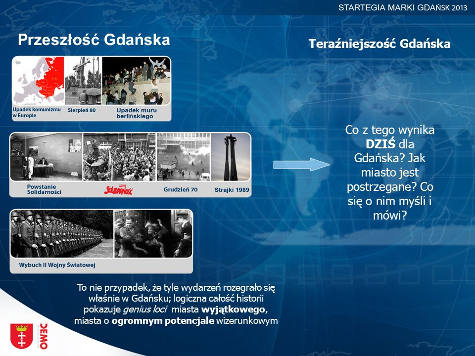 Przeszłość Gdańska Teraźniejszość Gdańska Co z tego wynika DZIŚ dla Gdańska? Jak miasto jest postrzegane? Co się o nim myśli i mówi? To nie przypadek,