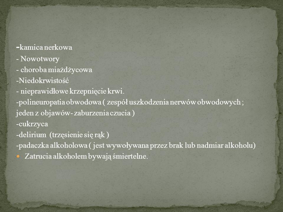- kamica nerkowa - Nowotwory - choroba miażdżycowa -Niedokrwistość - nieprawidłowe krzepnięcie krwi.