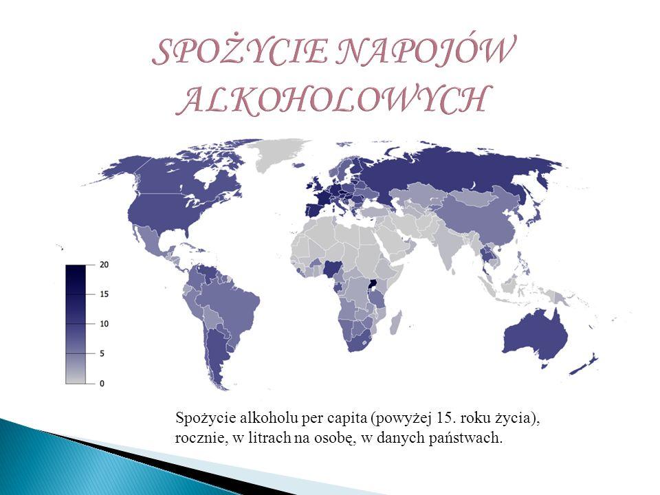 Spożycie alkoholu per capita (powyżej 15. roku życia), rocznie, w litrach na osobę, w danych państwach.