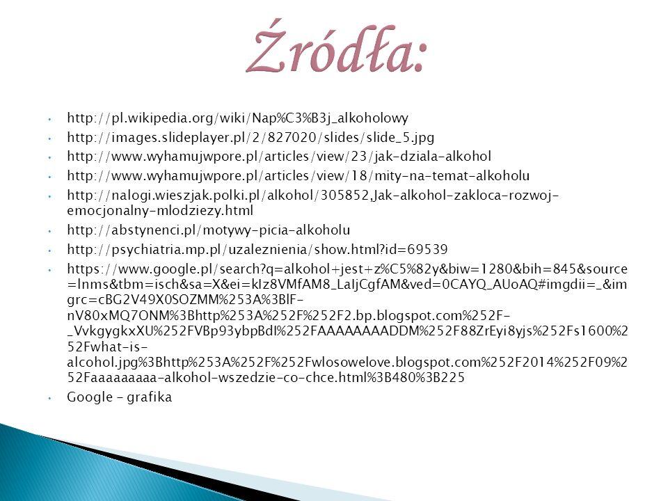http://pl.wikipedia.org/wiki/Nap%C3%B3j_alkoholowy http://images.slideplayer.pl/2/827020/slides/slide_5.jpg http://www.wyhamujwpore.pl/articles/view/2