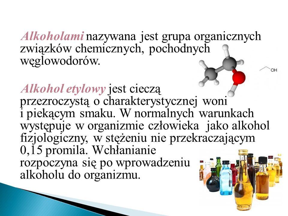 Alkoholami nazywana jest grupa organicznych związków chemicznych, pochodnych węglowodorów. Alkohol etylowy jest cieczą przezroczystą o charakterystycz