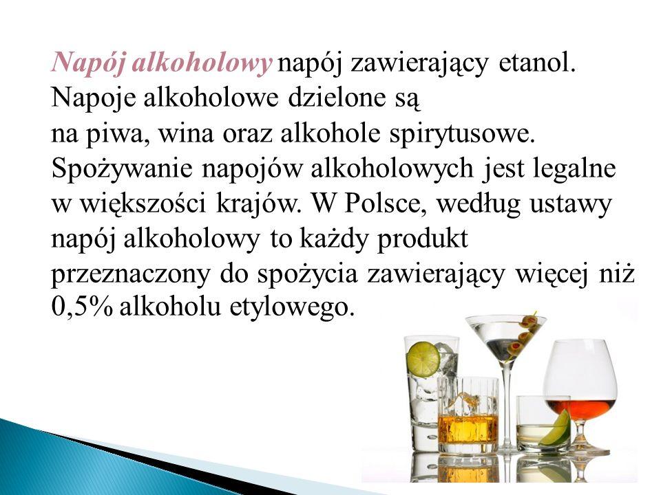 Napój alkoholowy napój zawierający etanol. Napoje alkoholowe dzielone są na piwa, wina oraz alkohole spirytusowe. Spożywanie napojów alkoholowych jest