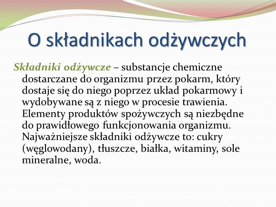 O składnikach odżywczych Składniki odżywcze – substancje chemiczne dostarczane do organizmu przez pokarm, który dostaje się do niego poprzez układ pok