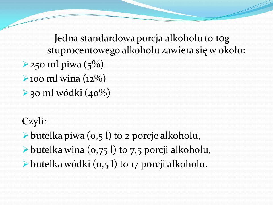 Jedna standardowa porcja alkoholu to 10 g stuprocentowego alkoholu zawiera się w około:  250 ml piwa (5%)  100 ml wina (12%)  30 ml wódki (40%) Czyli:  butelka piwa (0,5 l) to 2 porcje alkoholu,  butelka wina (0,75 l) to 7,5 porcji alkoholu,  butelka wódki (0,5 l) to 17 porcji alkoholu.