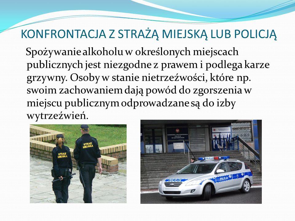 KONFRONTACJA Z STRAŻĄ MIEJSKĄ LUB POLICJĄ Spożywanie alkoholu w określonych miejscach publicznych jest niezgodne z prawem i podlega karze grzywny.