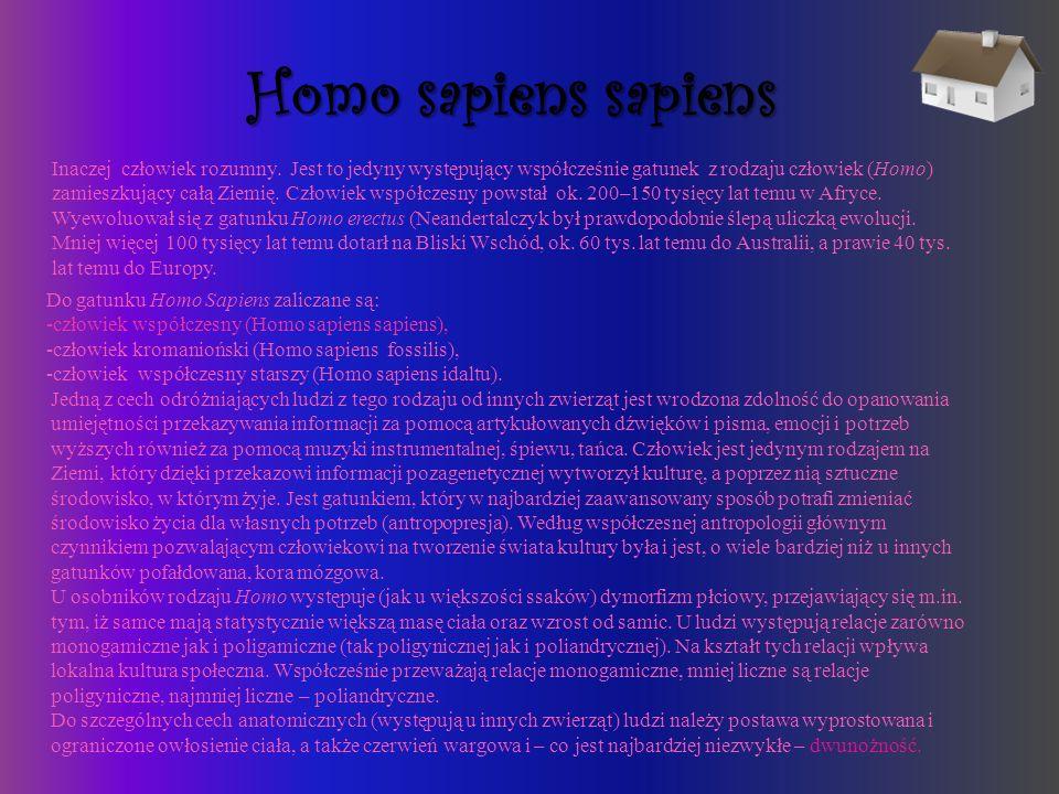 Homo sapiens sapiens Inaczej człowiek rozumny. Jest to jedyny występujący współcześnie gatunek z rodzaju człowiek (Homo) zamieszkujący całą Ziemię. Cz
