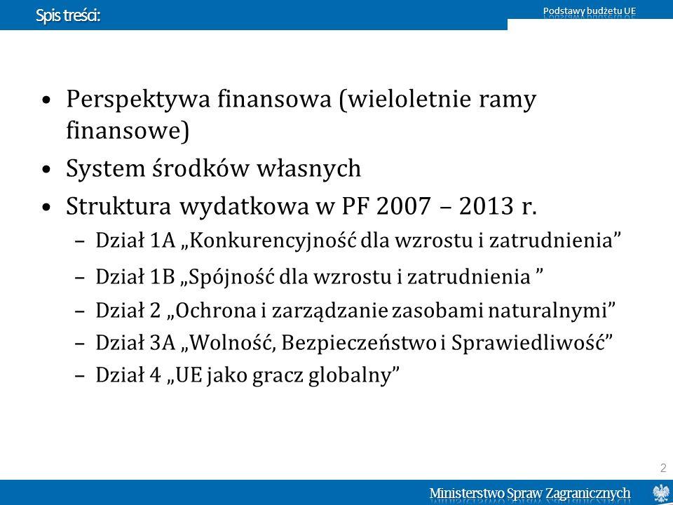 Podział środków w Dziale 2 (PF 2007 – 2013) Źródło: Komisja Europejska 33